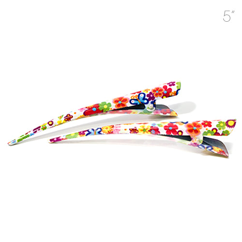 Large Metal Beak Clips Brightly Colored Daisy Print - Pair