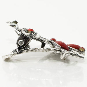 Mini Vintage Sliver Color Metal  Beak Clip with Crystals and Stones - 1 Piece