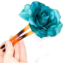 Load image into Gallery viewer, Large Fabric Flower on a Tort Chignon Pin