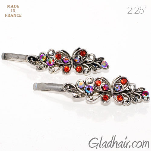 Vintage Silver Grips with Red Colored Stone Butterfly Design - Pair