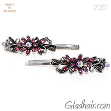 Load image into Gallery viewer, Vintage Silver Grips with Pink Colored Stone Flower Design - Pair