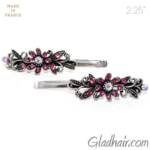Vintage Silver Grips with Pink Colored Stone Flower Design - Pair