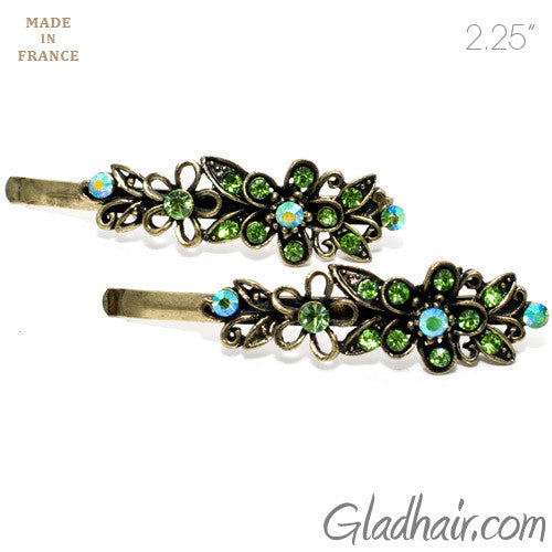 Vintage Gilt Grips with Green Colored Stone Flower Design - Pair