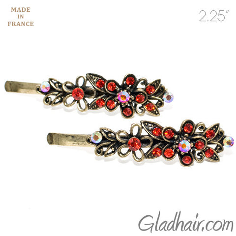 Vintage Gilt Grips with Red Colored Stone Flower Design - Pair