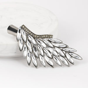 Greek Style Leaf with Crystals on Small Metal Beak Clip