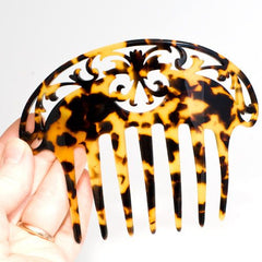 Large Hand Made Cut Back Italian Plastic Hair Comb