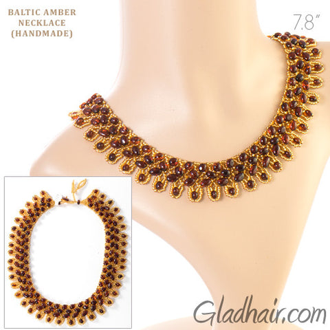 Handmade Natural Baltic Amber Beaded Necklace
