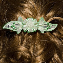 Load image into Gallery viewer, Mesh Bow Swarovski Crystal Barrette in Silver and Light Green