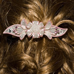 Mesh Bow Swarovski Crystal Barrette in Silver and Light Pink