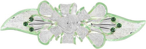 Mesh Bow Swarovski Crystal Barrette in Silver and Light Green