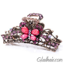 Load image into Gallery viewer, Metal Butterfly Style Hair Claw with Crystals