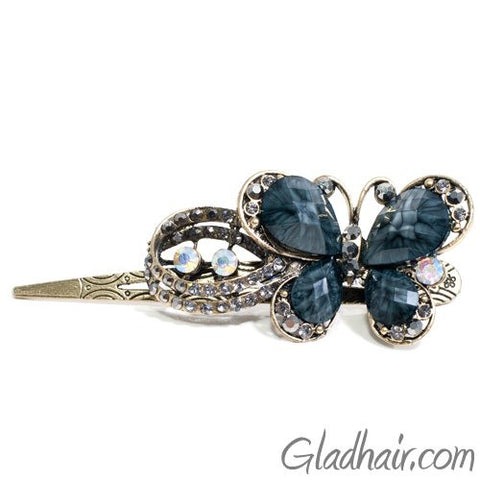 Metal Large Butterfly Style Beak Clip with Crystals