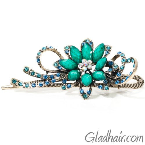 Metal Large Flower Beak Clip with Crystals