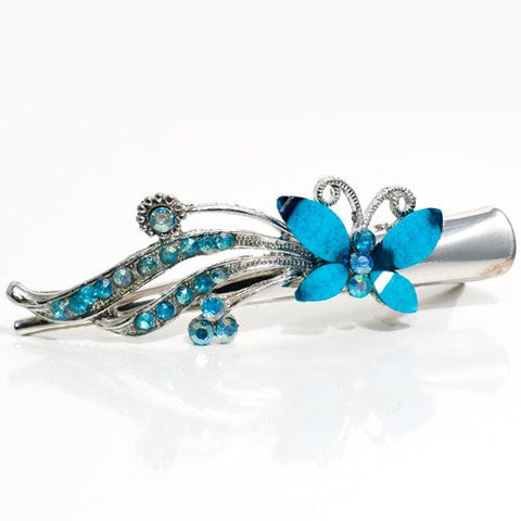Metal Silver Beak Clip with Crystal Butterfly Design - 1 piece