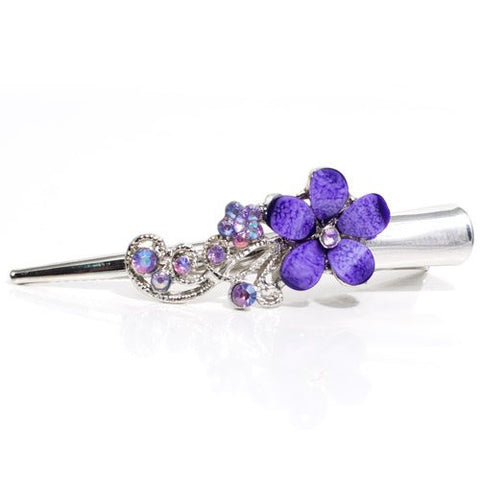 Metal Silver Beak Clip with Crystal Flower Design - 1 piece