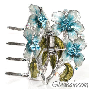 Metal Silver Web Net Style with Flowers Hair Claw with Crystals and Stones