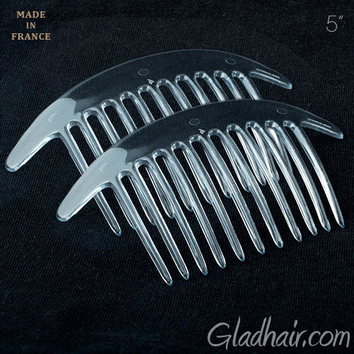 French Interlocking Combs Pony Clear Shell - Pair