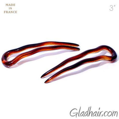French Small Crink Hair Pins - Pair