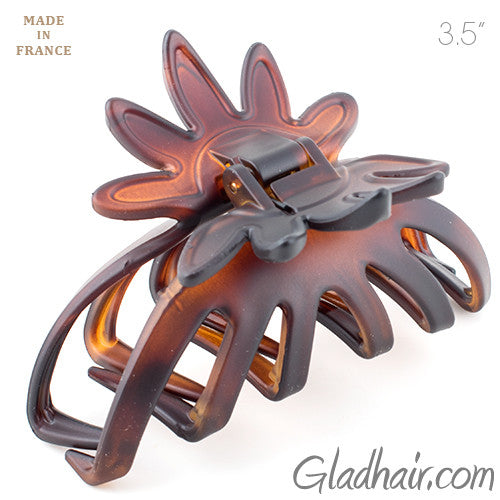 French Flower Tortoise Matt Shell Hair Claw