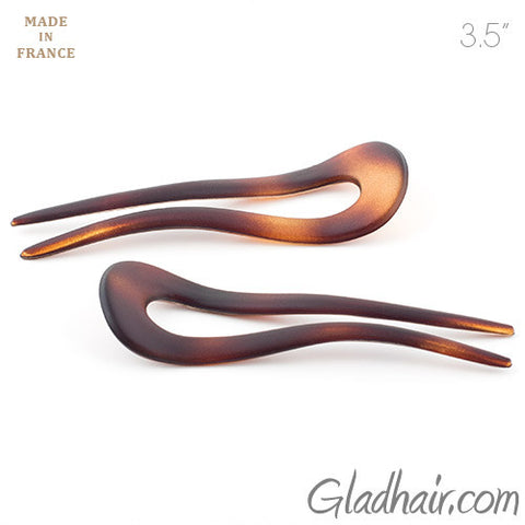 French Matt Crink Hair Pins - Pair