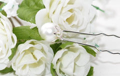 Hairpins with Large White Pearls - Pair