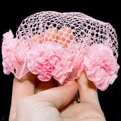 Pink Mesh Bun Net with Pink Rosettes