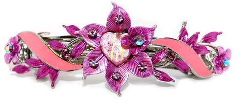 Swarovski  Crystals Purple with Pink Flower Automatic Barrette