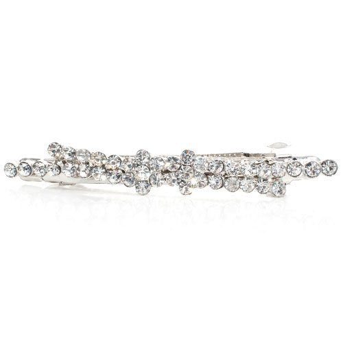Rhodium Silver Colored Barrette with Crystals