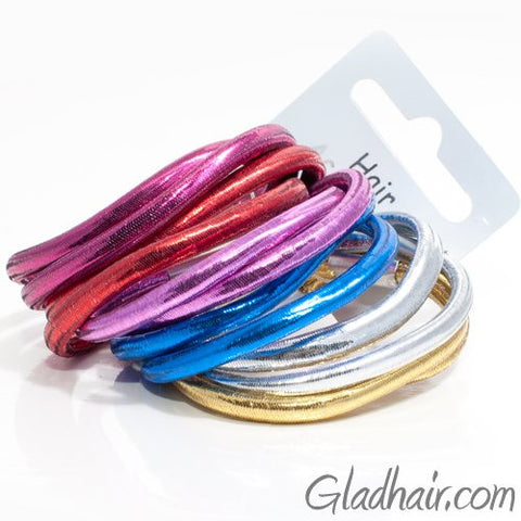 Shiny Metallic Elastics - Card of 12