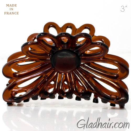 French Flower Shaped Tortoise Plastic Hair Claw