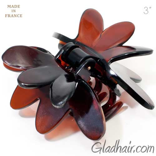 French Brown Plastic Flower Style Covered Spring Hair Claw