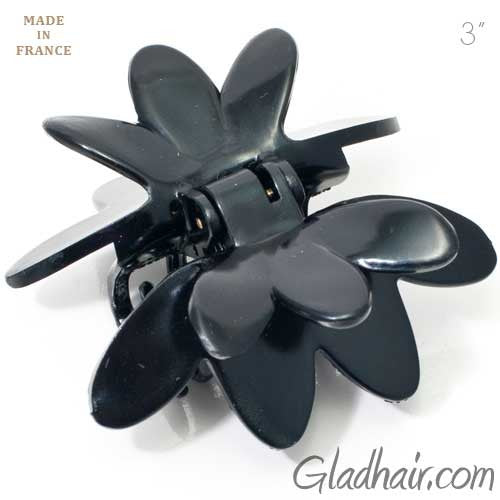 French Black Plastic Flower Style Covered Spring Hair Claw
