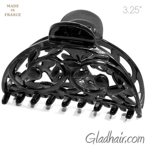French Black Plastic Hair Claw with Flower Vine Design