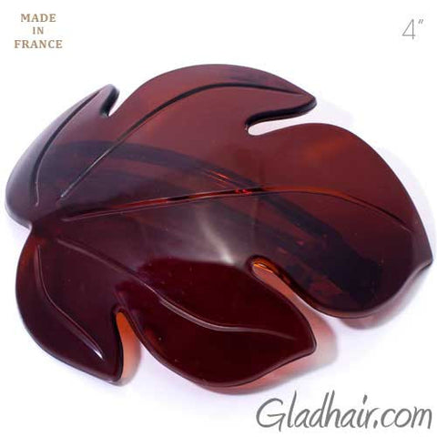 French Brown Plastic Leaf Shaped on Metal Barrete