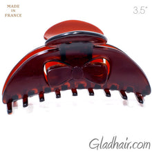 Load image into Gallery viewer, French Plastic Bow Style Covered Spring Hair Claw