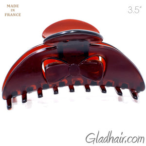 French Plastic Bow Style Covered Spring Hair Claw
