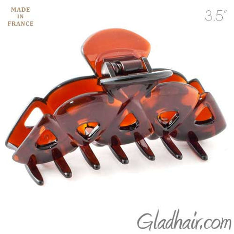 French Brown Plastic Triangles Hair Claw
