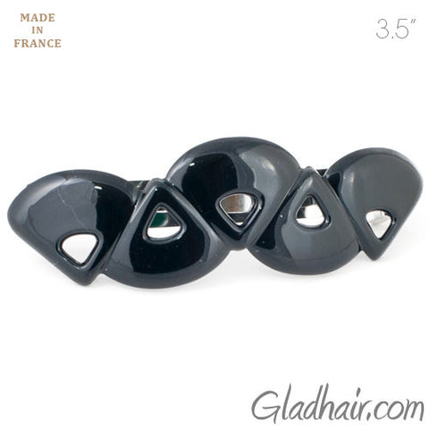 French Black Plastic Triangles Barrette