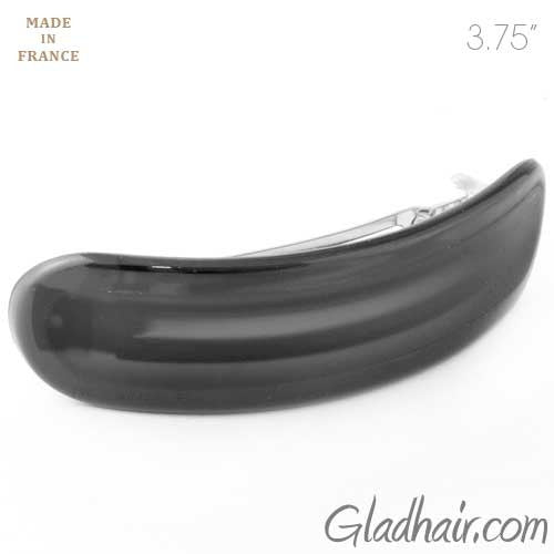 French Black Barrette with Matte Middle