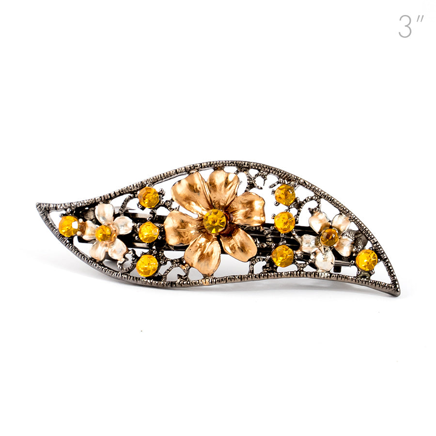 Small Vintage Metal Barrette with Gold Flowers and Crystals