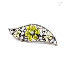 Load image into Gallery viewer, Small Vintage Metal Barrette with Green Flowers and Crystals