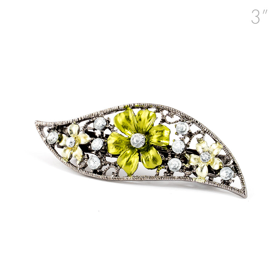 Small Vintage Metal Barrette with Green Flowers and Crystals