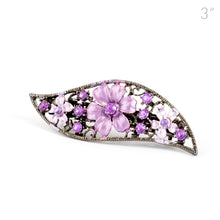 Load image into Gallery viewer, Small Vintage Metal Barrette with Purple Flowers and Crystals