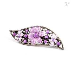 Small Vintage Metal Barrette with Purple Flowers and Crystals