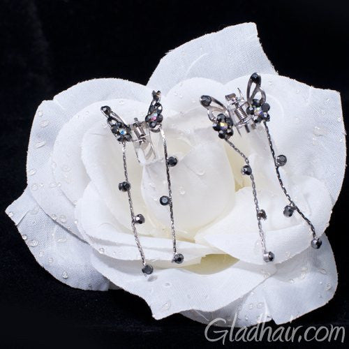 Silver Butterfly Mini Clamps with Trailing Droppers - pair