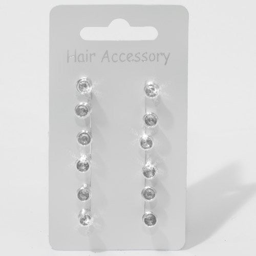 Silver Color Hairsprings with Clear Stone -  Card of 12
