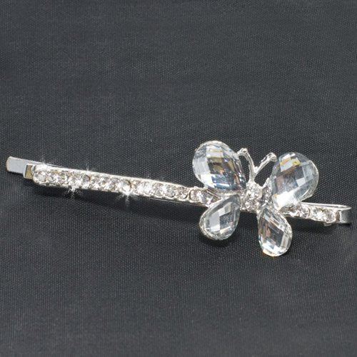 Silver Diamante Butterfly Grip - 1 piece