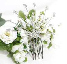 Load image into Gallery viewer, Silver Floral Spray Crystal Comb