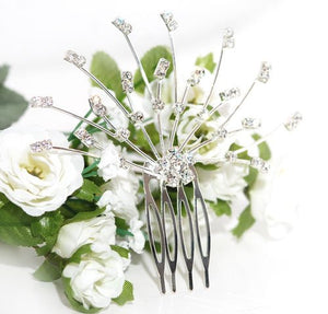 Silver Floral Spray Crystal Comb