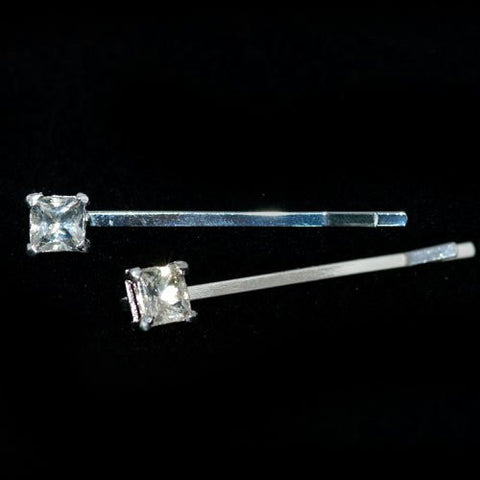Silver Grips with a Square Crystal Stone - Pair